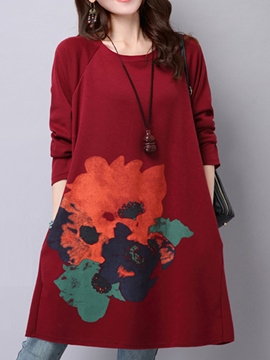 Ericdress Flower Print Thick Casual Dress