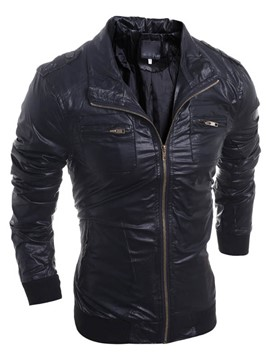 Ericdress Solid Color Thicken Warm PU Zip Men's Jacket
