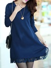 Ericdress Plain Lace Patchwork Round Neck Sweater Dress