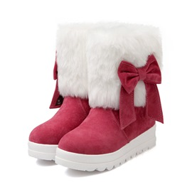 Ericdress Sweet Bowtie Decoration Short Snow Boots
