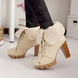 Ericdress Charming Lace-up Chunky Heel Boots