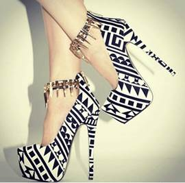 Fashionable Black & White Contrast Colour Coppy Leather High Heel Shoes