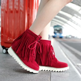 Ericdress Lace up Tassels Decoration Flat Boots