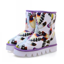 Ericdress Dreaming Feather Print Snow Boots