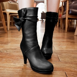 Ericdress Mid calf High Heel Boots with Bowknot