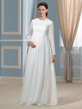 Ericdress Beautiful Jewel Long Sleeves Maternity Wedding Dress
