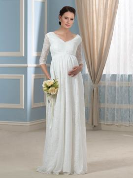 Ericdress Pretty V Neck Half Sleeves Lace Maternity Wedding Dress