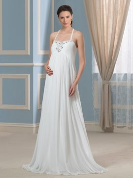Ericdress Charming Beading Halter Maternity Wedding Dress