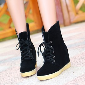 Ericdress Korean Lace-up Flat Ankle Boots