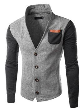 Ericdress Color Block Patched Pocket Stand Collar Men's Jacket