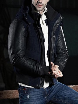 Ericdress Patched Thicken Hooded Zip Winter Warm Men's Jacket