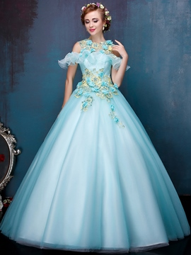 Ericdress Scoop Ball Gown Cap Sleeves Appliques Beading Ruffles Floor-Length Quinceanera Dress
