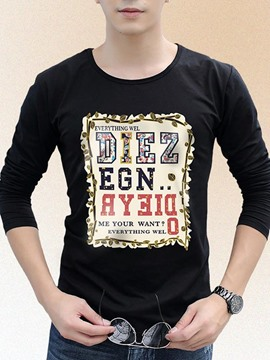 Ericdress Printed Patched Long Sleeve Crewneck Men's T Shirt