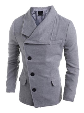 Ericdress Plain Oblique Single-Breasted Slim Men's Woolen Coat