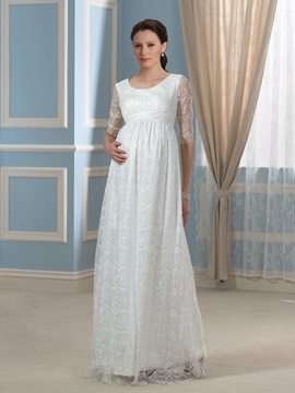 Ericdress Pretty Scoop Half Sleeves Lace Maternity Wedding Dress