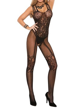 Ericdress Black Fish Net Jacquard Open Crotch Women Pantyhose