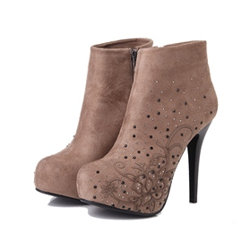 Ericdress Patchwork High Heel Boots with Rivets