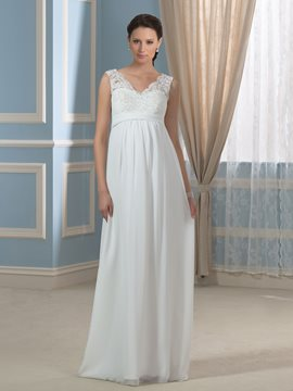 Ericdress Charming V Neck A Line Lace Maternity Wedding Dress