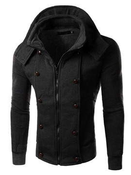 Ericdress Plain Double-Breasted Decorated Zip Thicken Men's Hoodie
