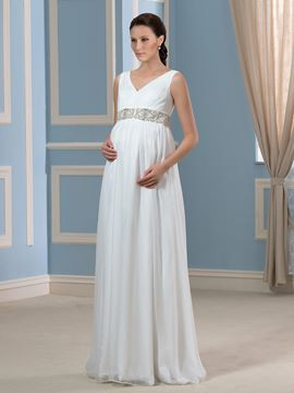 Ericdress Beading V Neck Sleeveless Maternity Wedding Dress