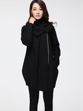 Ericdress Color Block Asymmetric Plus Size Coat