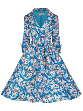 Ericdress Floral Print Belt Expansion Casual Dress
