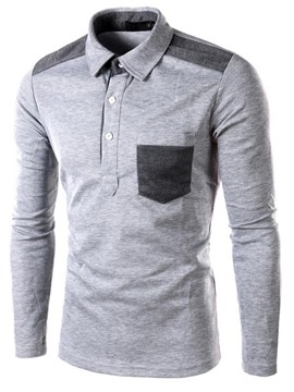 Ericdress Patched Pocket Long Sleeve Slim POLO Men's T Shirt