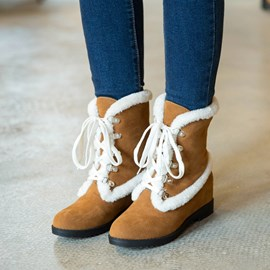 Ericdress Chic Patchwork Lace up Ankle Boots