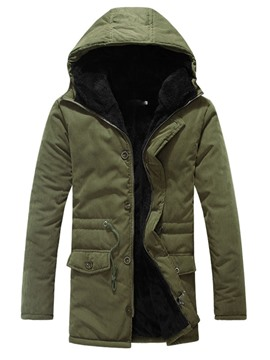 Ericdress Multi-Color Hooded Flocking Warm Winter Men's Cotton Coat