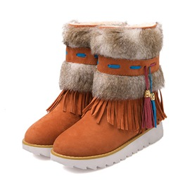 Ericdress Ethnic Flat Boots with Tassels
