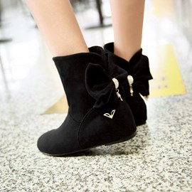 Ericdress Lovely Suede Ankle Boots with Bowknot