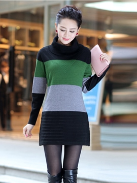 Ericdress Color Block Turtleneck Sweater Dress