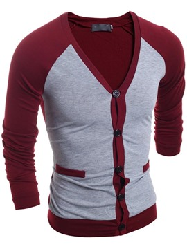 Ericdress Color Block Single-Breasted V-Neck Slim Men's T Shirt Casual