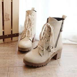 Ericdress Cool Lace-up Buckles Decoration Ankle Boots