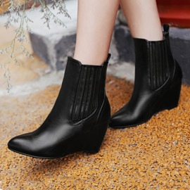 Ericdress Point Toe Wedge Ankle Boots