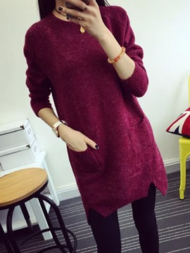 Ericdress Plain Pocket Sweater Dress