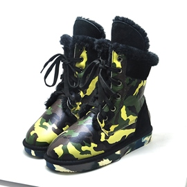 Ericdress Camouflage Lace-up Ankle Boots