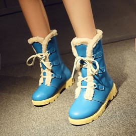 Ericdress Popular Lace up Mid Calf Snow Boots