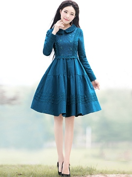 Ericdress Perter Pan Collar Lace-Up Vintage Casual Dress