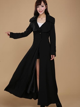 Ericdress Plain Slim Single-Breasted Trench Coat