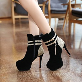 Ericdress Patchwork High Heel Boots with Tassels