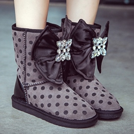 Ericdress Sweet Dots Big Bowknot Snow Boots