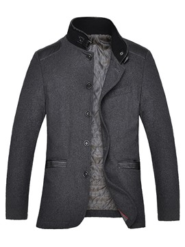 Ericdress Patched Stand Collar Single-Breasted Slim Men's Jacket