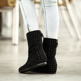Ericdress Rivets Decoration Lace-up Flat Boots
