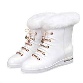 Ericdress Delicate Furry Lace-up Ankle Boots