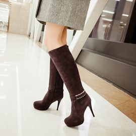 Ericdress Ladylike Metal Decoration Knee High Boots