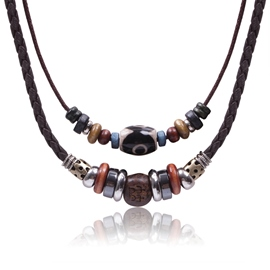 Vintage Double-deck Beads Decorated Men's Necklace