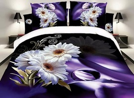Ericdress White Flower Print 3D Bedding Sets