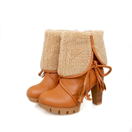 Ericdress Graceful Chunky Heel Boots with Tassels