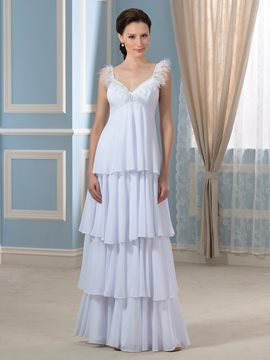 Ericdress Beautiful Tiered Spaghetti Straps Maternity Wedding Dress
